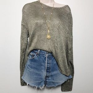 [J. Crew] Green Nylon Knit Sweater